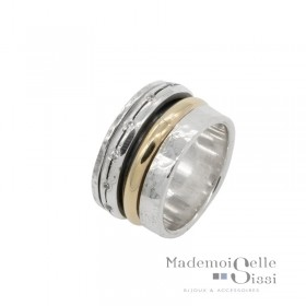 Bague Large Argent & Or jaune & Zircons blancs - LA RAFFINEE