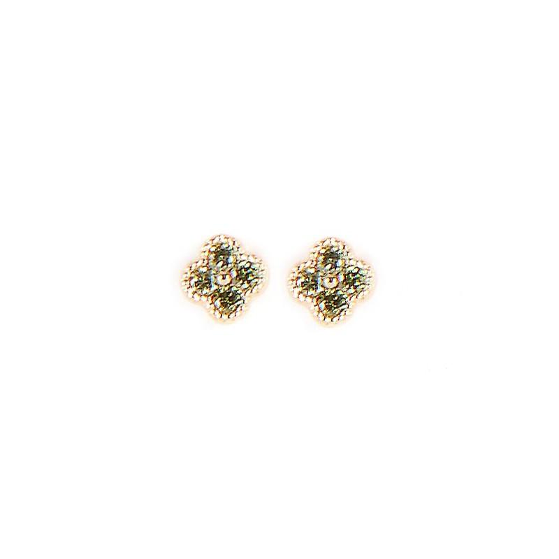 Boucles d'oreilles Puces Trèfle vert doré