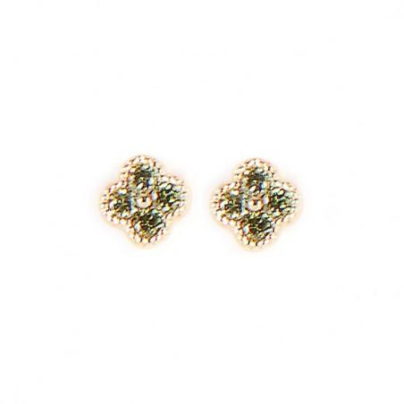 Boucles d'oreilles Puces Trèfles vert doré