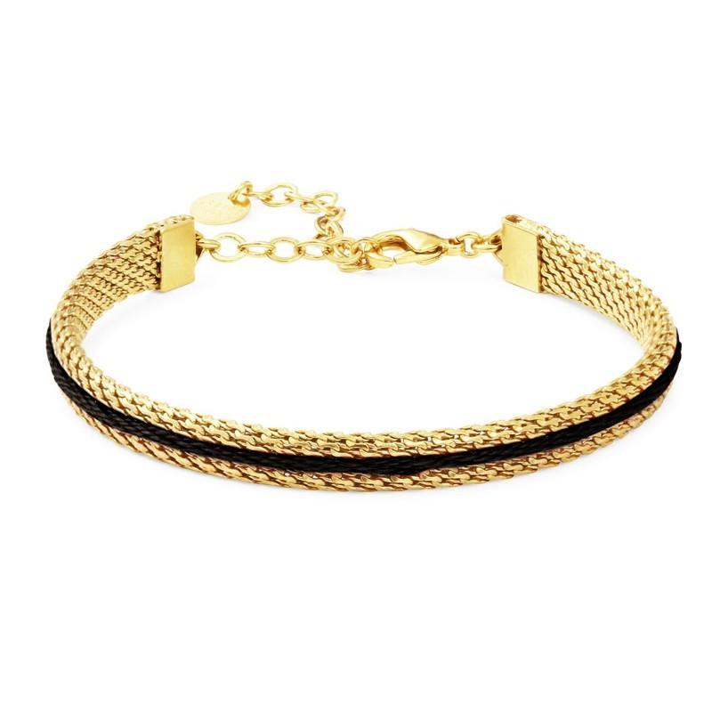 Bracelet ajustable Macaron doré à l'or fin stylisé fil de coton noir