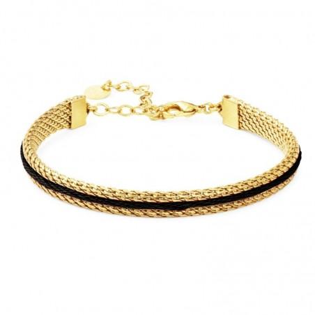 Bracelet ajustable Macaron doré à l'or fin fil de coton noir