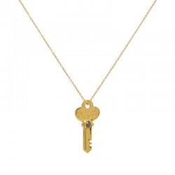 LuckyTeam - Collier ras de cou chaîne & Pendentif Clé dorée labradorite