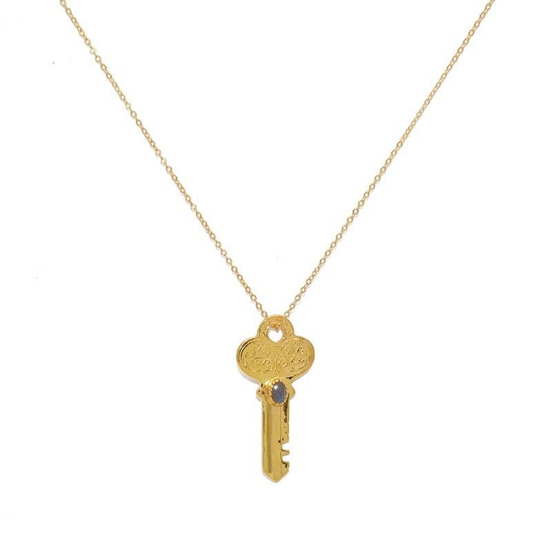 Collier ras de cou chaîne & Pendentif Clé dorée labradorite