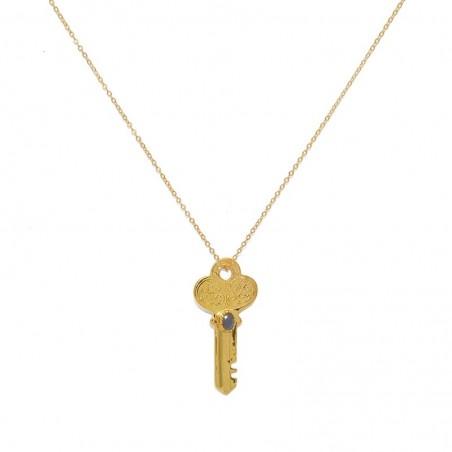 Collier mi-long chaîne & Pendentif Clé dorée Labradorite