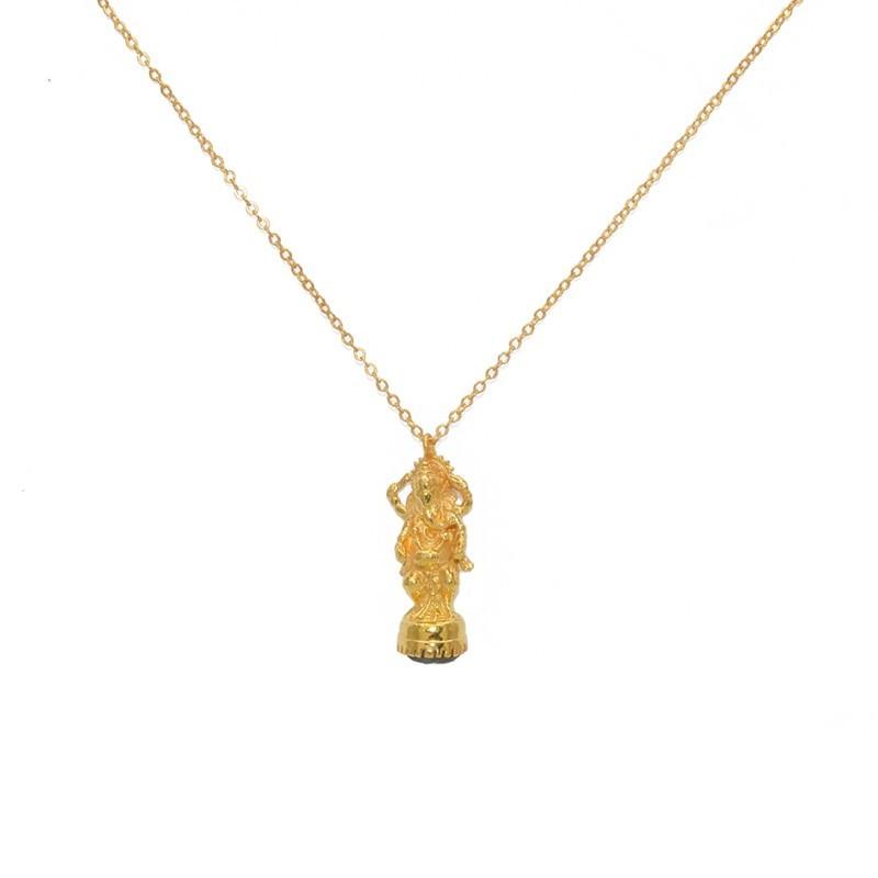 Collier mi-long chaîne & Pendentif doré Statuette Ganesh et Labradorite