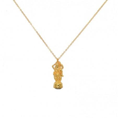 Collier mi-long doré Pendentif Statuette Ganesh & Labradorite