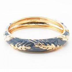 Bracelet Jonc Amok Doré émaillé bleu gris & Epis dorés - ARGELOUSE