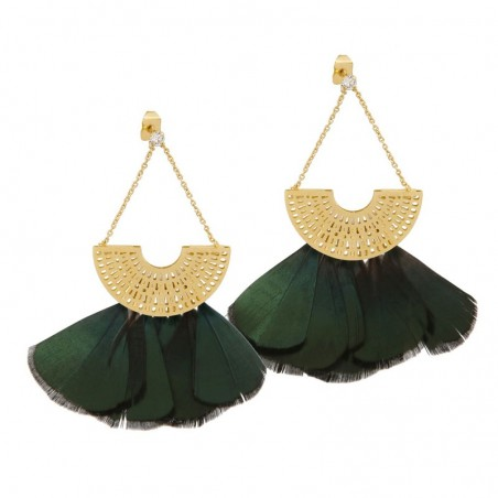 Boucles d'oreilles Grande Rio Strass Or - Eventail & plumes vertes