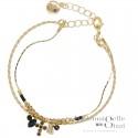Bracelet double rangs Domy noir doré - Jonc & chaîne perlées croix
