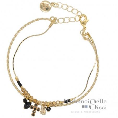 Bracelet jonc multi-rangs Domy - Noir doré & chaîne perlées croix