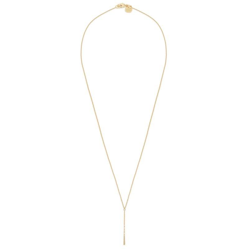 Collier Long ajustable Salomé doré à l'or fin stylisé Y strass swarovski