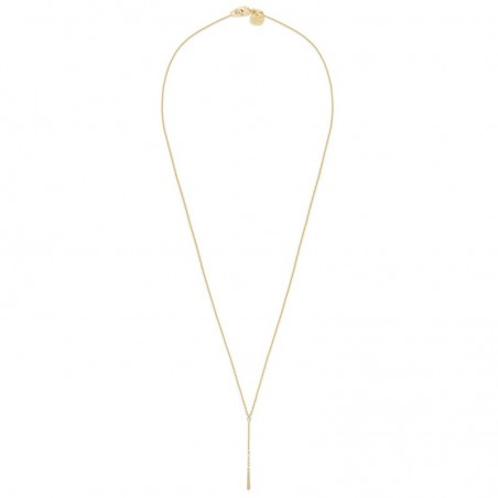 Collier Long Salomé doré à l'or fin stylisé Y strass swarovski