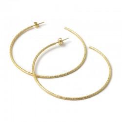 Boucles d'oreilles Hoop Gloria Or - Grandes créoles & Décor ciselé 6, 7 cm