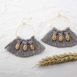 Boucles d'oreilles Créoles tissées Pompons Taupe & ananas Or - ARGELOUSE