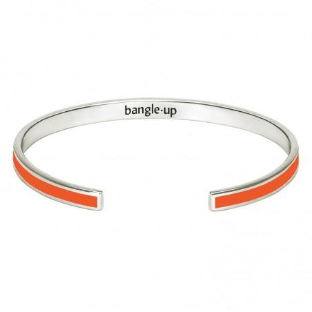 Bracelet jonc fin ouvert Bangle argent stylisé d'émail orange tangerine