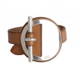 Bracelet Manchette cuir marron camel stylisé Barre métal