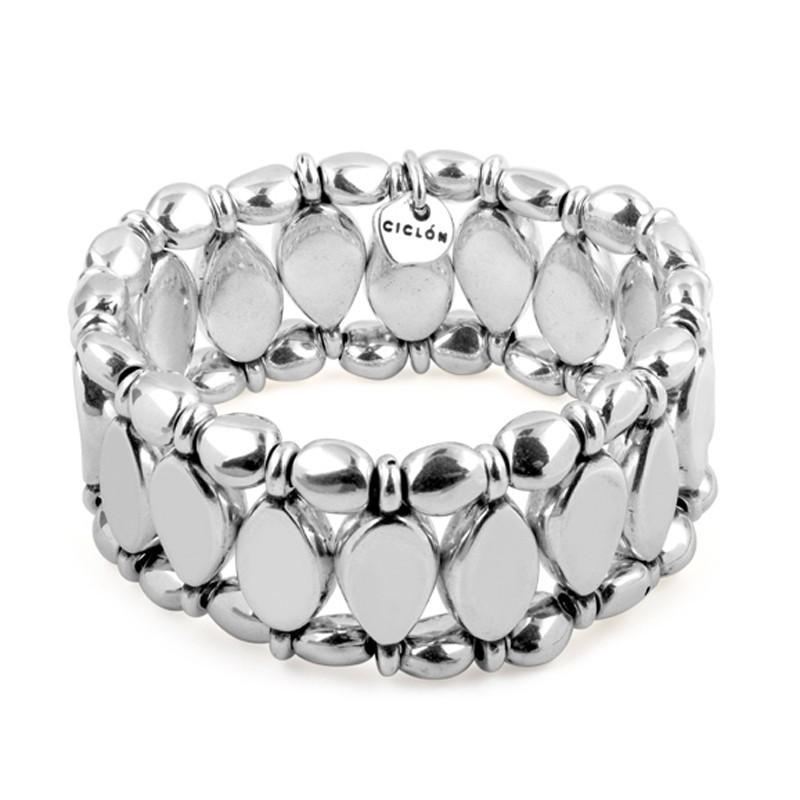 Bracelet manchette élastiqué tout métal & Décors navettes designs