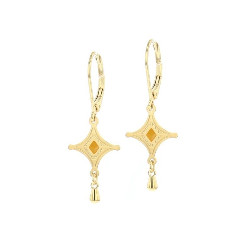 Boucles d'oreilles pendantes Talisman dorées & Symbole touareg moutarde