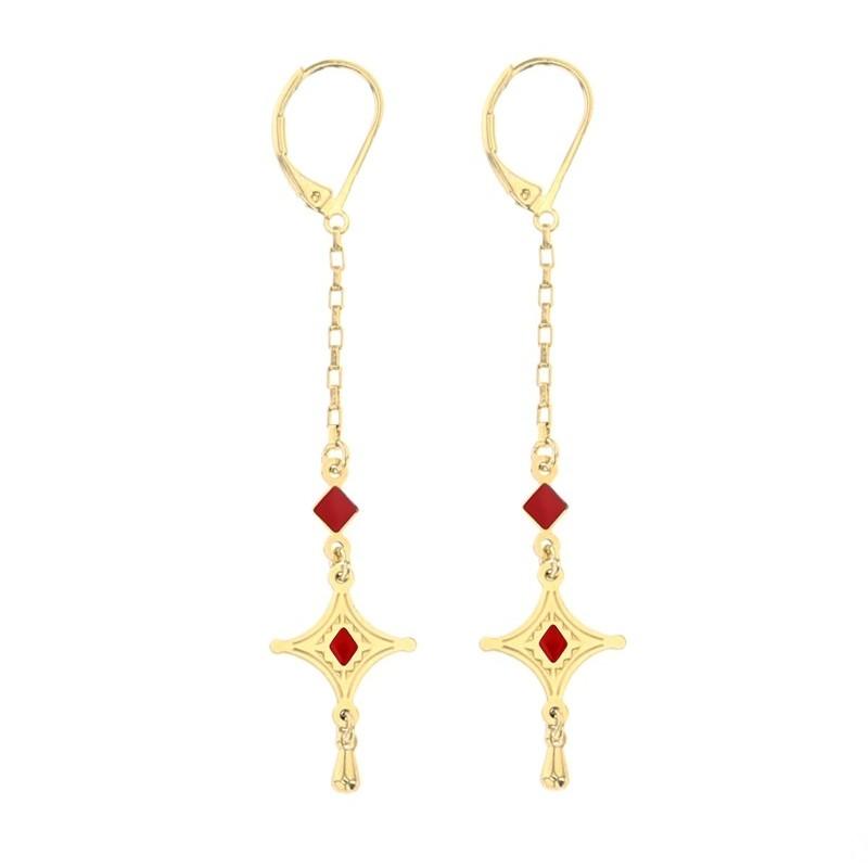 Boucles d'oreilles pendantes Talisman dorées & Symbole touareg rouge