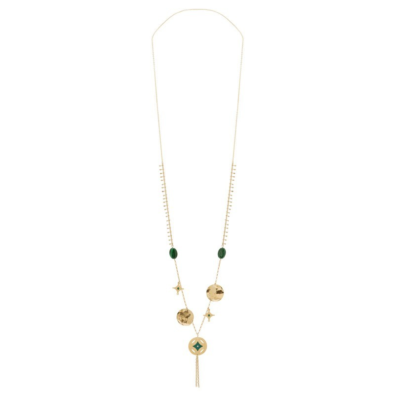 Collier sautoir Or Gri-Gri - Malachites & Médaille croix vert sapin