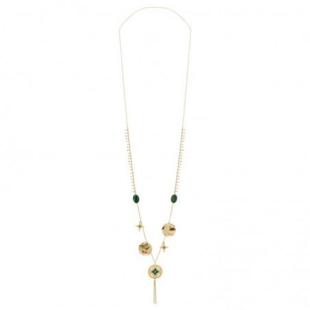 Collier sautoir Gri-Gri Malachites Médailles & pampilles Vert doré