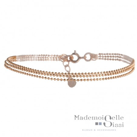 Bracelet multi rangs Colette - Chaînes Or rose