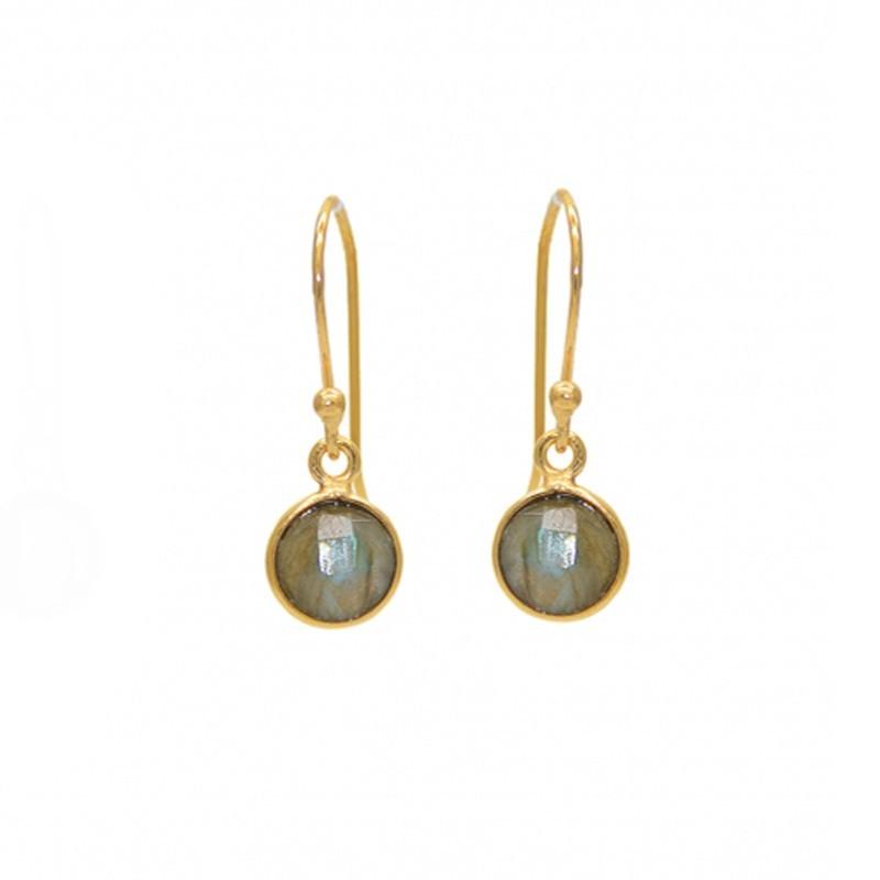 Boucles d'oreilles pendantes dorées - Dormeuses & Labradorite ronde facettée