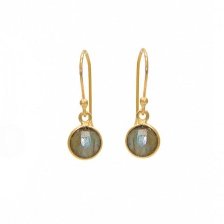 Boucles d'oreilles pendantes dorées & Labradorites rondes facettées