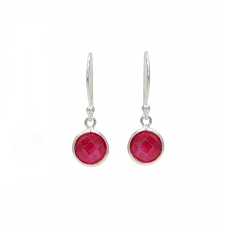 Boucles d'oreilles pendantes argent - Dormeuses & Rubis rond facetté