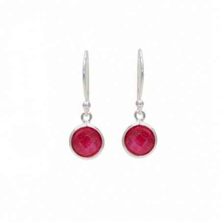 Boucles d'oreilles pendantes en argent - Dormeuses & Rubis rond facetté