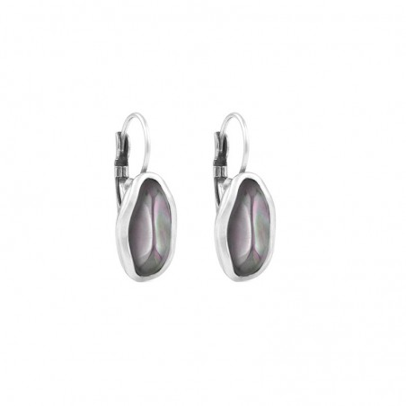 Boucles d'oreilles Dormeuses Métal & Verre de Murano parme