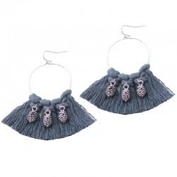 Boucles d'oreilles Créoles Pompon gris & ananas argent