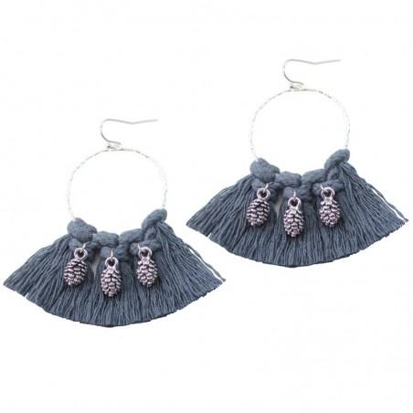 Boucles d'oreilles Créoles tissées Pompon gris & ananas argent