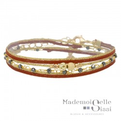Bracelet multi tours Eva - Liens & Perles Orange doré