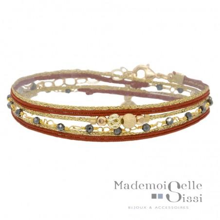 Bracelet multi-tours Eva - Liens & Perles Orange doré