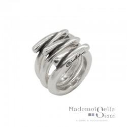 Bague Large tout métal 3 anneaux - Jeux de mains - CICLON -