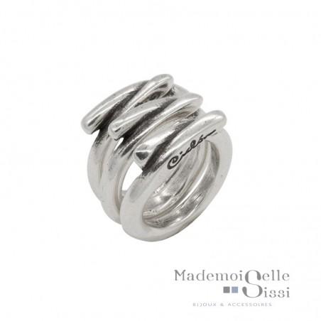 Bague Large tout métal 3 anneaux - Jeu de mains
