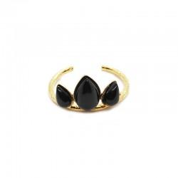 Bague fine ajustable Or NASH & triptyque Onyx noir
