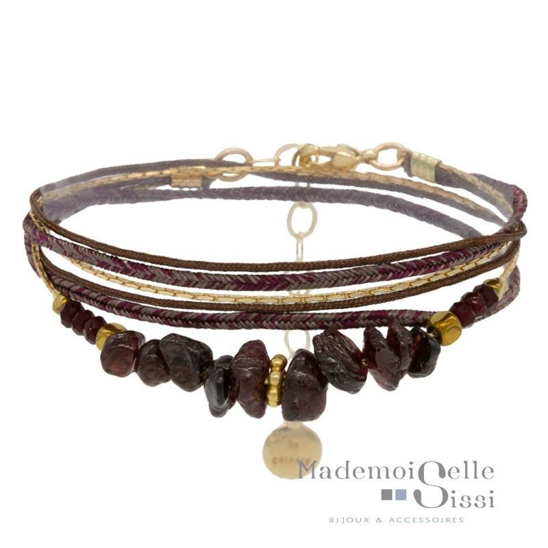 Bracelet multi rangs Chloé - Grenats & Lurex bordeaux doré
