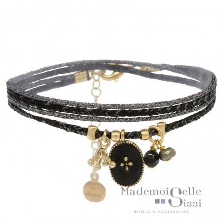 Bracelet multi tours Cali - Pampilles & médaille noir doré