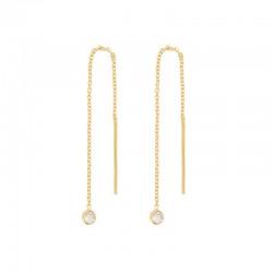Boucles d'oreilles pendantes dorées & Topaze