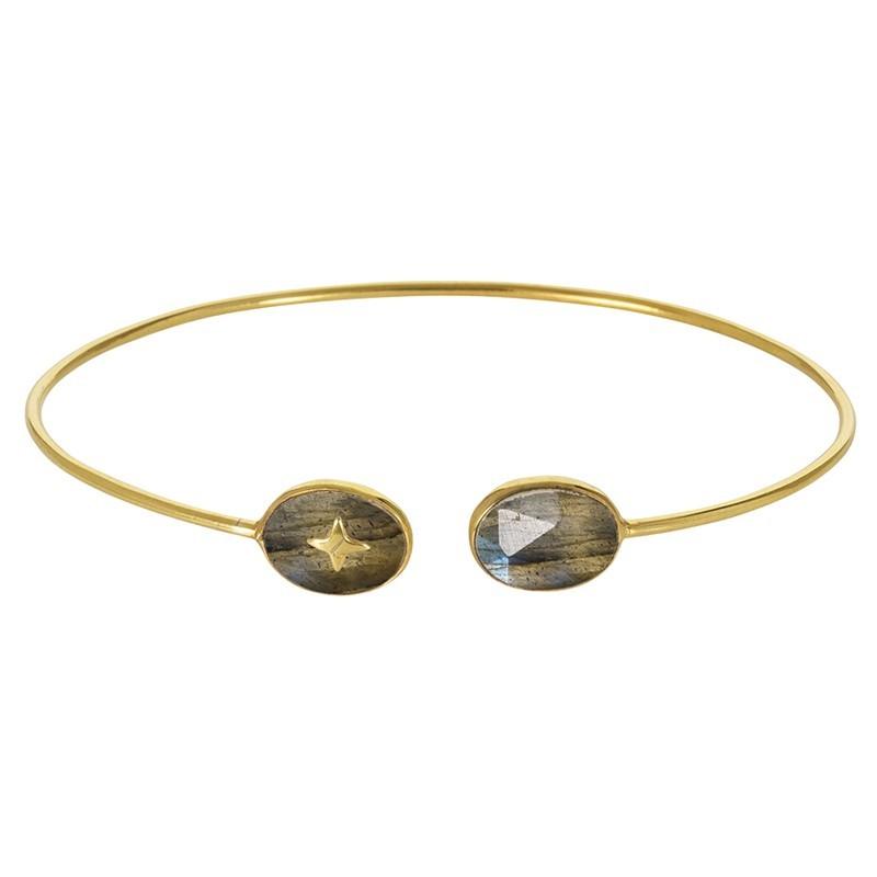 Bracelet Jonc fin dorée ouvert - Deux Labradorites ovales & Croix dorée