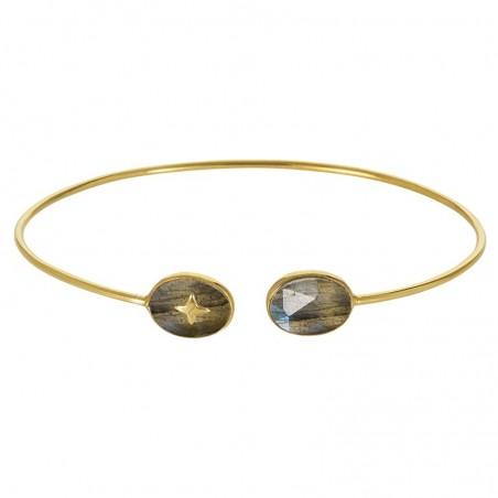 Bracelet Jonc fin doré ouvert Labradorites ovales & Croix dorée