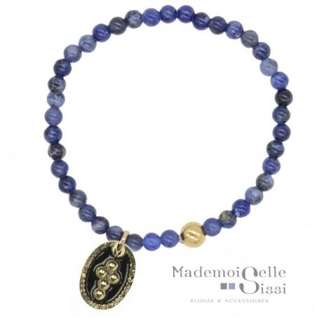 Bracelet élastiqué La Confession - Sodalites bleues & médaille croix noire