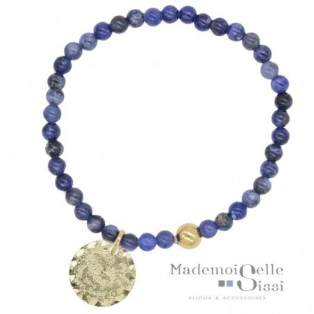 Bracelet élastiqué perles de Sodalites bleues & médaille ronde dorée Mars