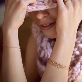 Bracelet Jonc Trésors doré stylisé strass cristal & Opale