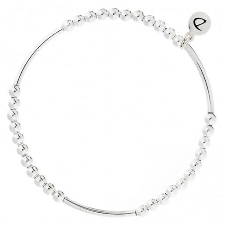 Bracelet élastiqué Basic argent - Boules & tubes