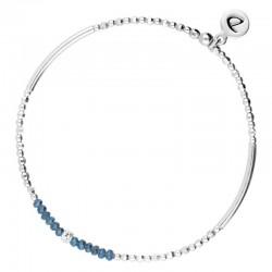 Bracelet élastiqué an argent Flirting - Perles de verre bleues