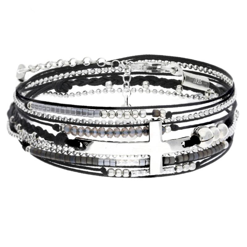Bracelet multi tours argent cordons noirs & Croix