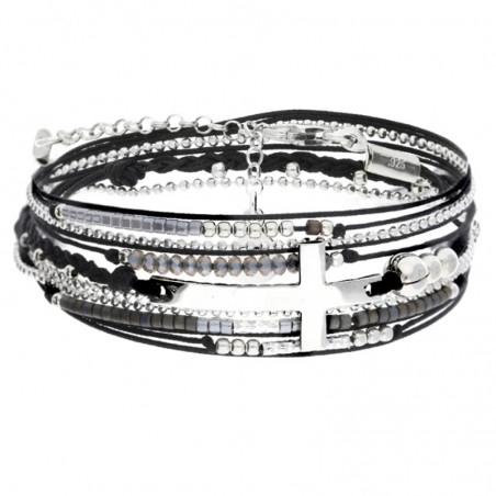 Bracelet multi-tours argent cordons noirs & Croix